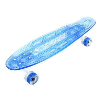 Скейтборд прозрачный PLAYSHION со светящимися колесами FS-LS002B (Синий), фото 1